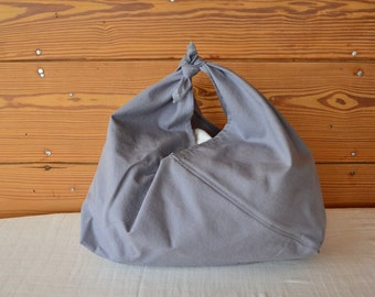 handmade gray bento bag / cotton simple japanese grocery bag or purse