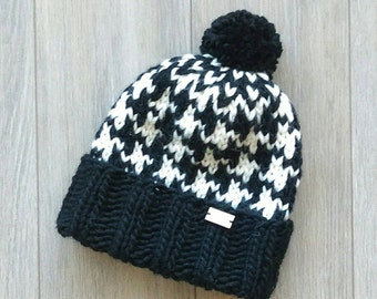 Houndstooth Pompom Hats - Pompom Beanies - Hipster Beanie - Winter Hats