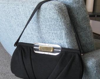 HOLIDAY SALE Vintage 40s 50s Black Wool Carved Lucite Handle Purse Handbag Evening Bag
