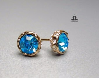 Ear studs - crown - rose gold - blue