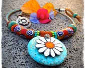 Sunshine DAISY Necklace Boho Leather necklace Statement neck piece Flower Hippie Turquoise Cowgirl jewelry Afrocentric womens jewelry GPyoga