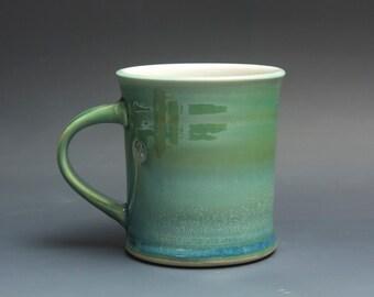 Pottery coffee mug, ceramic mug, stoneware tea cup jade green 14 oz 3735