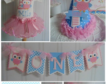 Owl 1st Birthday Smash Cake party package - whoo's turning 1 banner,  party decoration, birthday outfit