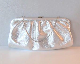 Vintage 1960's Silver Clutch Handbag / Shiny Metallic Grey Purse Wedding Bridal Clutch Evening Bag