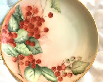 Vintage czech MZ Altrohlau CM-R dessert cakeplate painted with gooseberry pattern