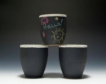Handmade Stoneware Chalkboard Tea Cup 16-103