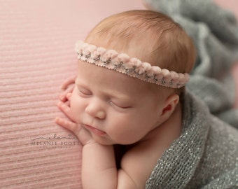 Softness - vintage blush pink and silver chenille headband halo newborn bow