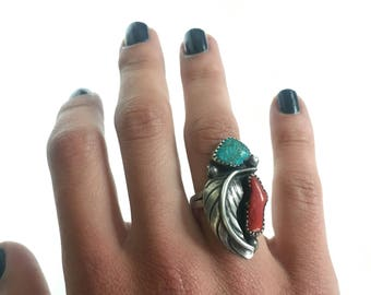 Vintage Native American Turqouise and Coral Sterling Silver Ring c.1960s