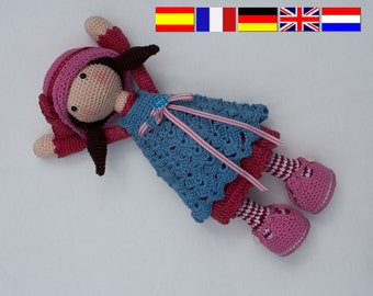 Crochet pattern for doll CELINE (Deutsch, English, Français, Español, Nederlands)