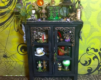 dollhouse miniature witch wizard cabinet with sorting hat