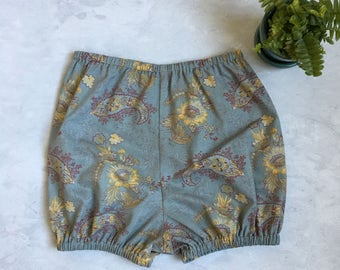 Chambray paisley bubble shorts toddler diaper cover girls shorties elastic waist baby shorts blue yellow red
