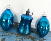Vintage Blue Mercury Glass Teardrop Bell Ornament, Set of Three