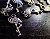 Destash (8) Flamingo Sunshine Bird Charms - for pendants, jewelry making, crafts, scrapbooking
