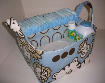 Large Diaper Caddy / Organizer Bin / Navy Blue White Whales / Chevron - Personalization Available
