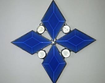 Blue Glass Diamond Beveled Sun Catcher with Clear Gems