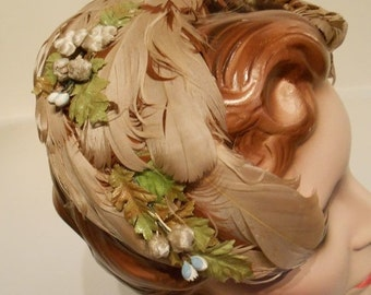 HOLIDAY 30% OFF Woodland Forest Wedding - Late 40s Early 50s Two Tone Neutral Feather Skull Caplet w/Florals