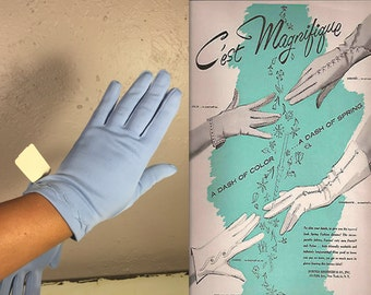 Devonshire Weddings - Vintage 1950s NOS Fownes Periwinkle Blue Nylon Wristlet Gloves - XL