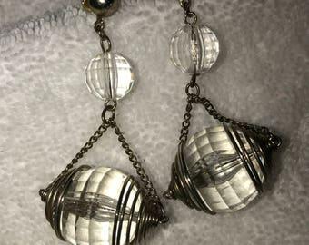Unusual Dangling Faceted Acrylic Ball Pierced Earrings