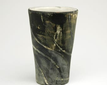 Tall Cup with Black Bending Stripes