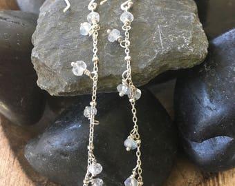 Dew Drop Sterling Silver Moonstone Long Earrings