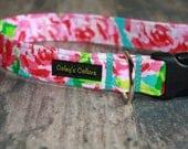 """Bold Modern Floral Dog Collar """"The Rose"""" Lilly Pulitzer inspired Dog Collar"""