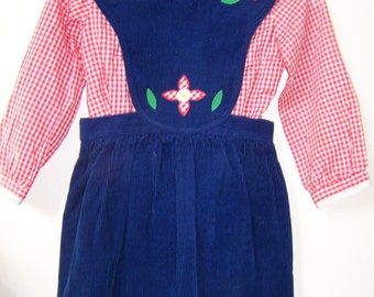 Vintage Girls Dress - Size 5 - 1980s Spring/Winter/Fall Corduroy Jumper & Blouse Gift for Kids - Navy, Red, White with Embroidery - Alyssa