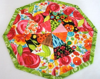 Flowers Mug Rug Coaster Quilted Quiltsy Handmade FREE U.S. Shipping Modern Flowers Octagonal