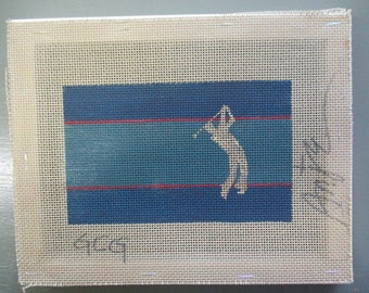Handpainted needlepoint canvas, golfer, 8 by 10 inches, Anje stretched  on wood  frame