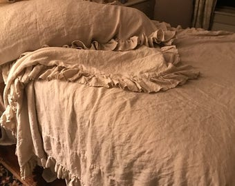 Antique White Washed Linen Custom Long Ruffled Bedding-Twin Duvet-Body Pillow Sham-Pair of Side Ruffled Shams