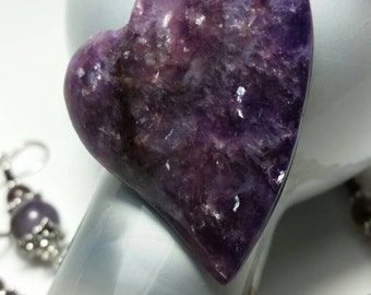 Not Just A Crush Lepidolite and Smoky Amethyst Heart Necklace Set
