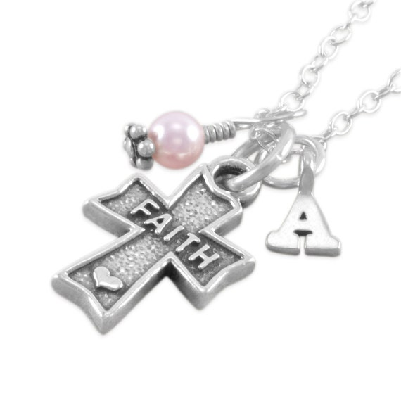Faith Heart Cross Necklace, Sterling Silver, pink pearl charm, personalized baptism necklaces, confirmation gift, first communion gifts AMY