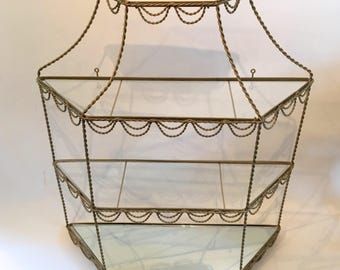 FLASH SALE! Vintage brass and glass curio knickknack display shelf shelves scallop design mid century
