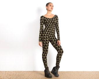 Catsuit - Rave Bodysuit - Festival Clothing - Triangle Print Jumpsuit