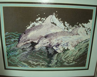 1994 Classic Cross stitch Kit DOLPHINS AT PLAY Cross My Heart .