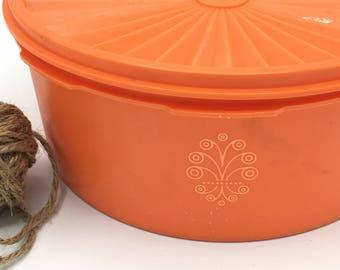 Vintage Tupperware Container, Bright Orange with Starburst, Kitchen Canister, Sevalier Lid