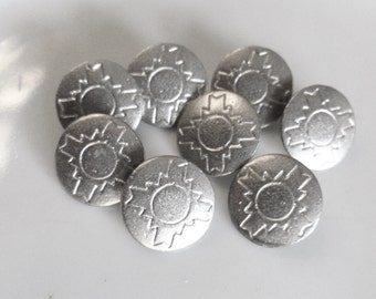 Vintage Silver Buttons, Aztec style,  8 in lot, 15mm, Primitive, 1960's,  Metal Loop Shank, Southwestern style, Silver matal Buttons