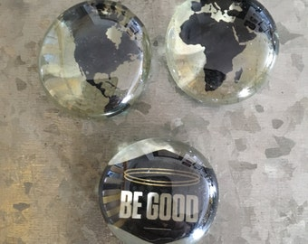 Be Good to Mother Earth set of three Glass Magnets