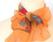 Owl silk scarf, cute whimsy owls yellow orange scarf