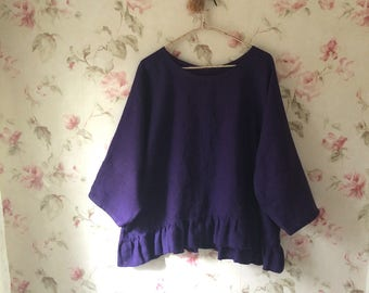 Washed Purple Linen Shirt Linen Blouse Romantic Ruffles Tunic Sweet Prairie Lagenlook 50 Bust