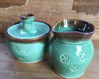 Sugar and Creamer Set, handmade pottery sugar and creamer