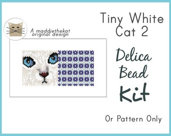 Tiny White Cat 2 Mini Amulet Bag Peyote Bead Pattern PDF or KIT DIY Feline Animal Pet