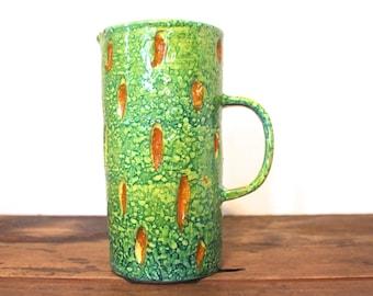 1960s Italian Pottery Pitcher / Tall Vase - green & brown - MID CENTURY MODERN -  bitossi, raymor era