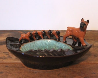 puppies love, vintage ceramic ashtray / trinket dish / catchall bowl with a family of BOXER dogs
