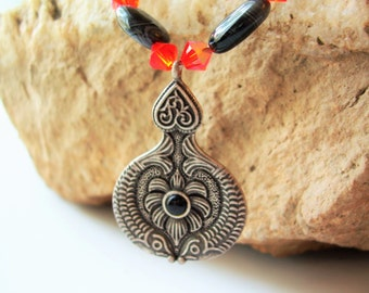 Fish Totem Necklace - Lava, Onyx, Orange Crystal