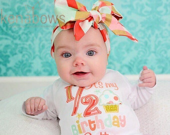 It's My Half Birthday, Baby Girl 1/2 Birthday, 6 month outfit, Head Wrap, 6m Photo Shoot, Coral, Gold, Mint, Pink, big fabric bow, Cupcake