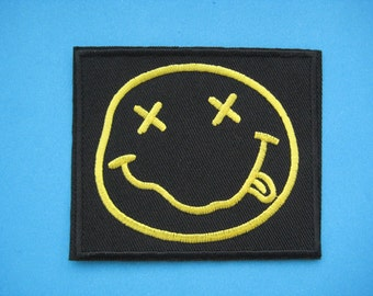 Iron-on Embroidered Patch Nirvana Smiley Face 3.5 inch