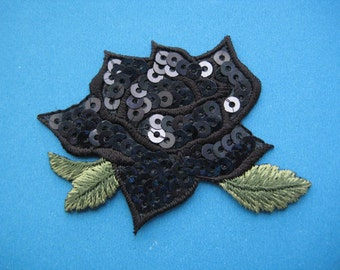 Iron-On Sequins Patch Black Rose 2.5 inch