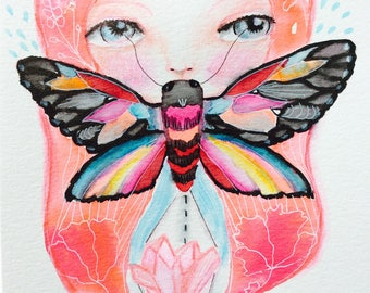 """Watercolor moth - Watercolor painting, girl and moth wall art, crystal painting, 8x5"""", nature watercolor, pink hair, butterfly"""