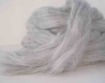 Silver Alpaca /Tussah Silk  70/30  Combed Top for Spinning or Felting 4 oz.