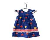 50% half off sale // Vintage 70s Handmade Novelty Pattern Umbrella Dress - Little Girls 4T  - Childrens, mod, blue (2 available)